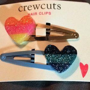 Glittery heart shape hair clips- barrettes